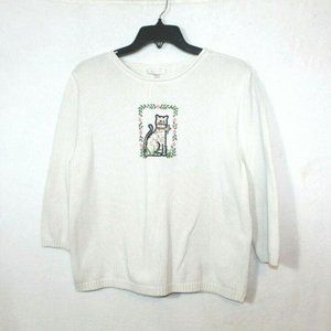 Christopher & Banks knit embroidered cat sweater L